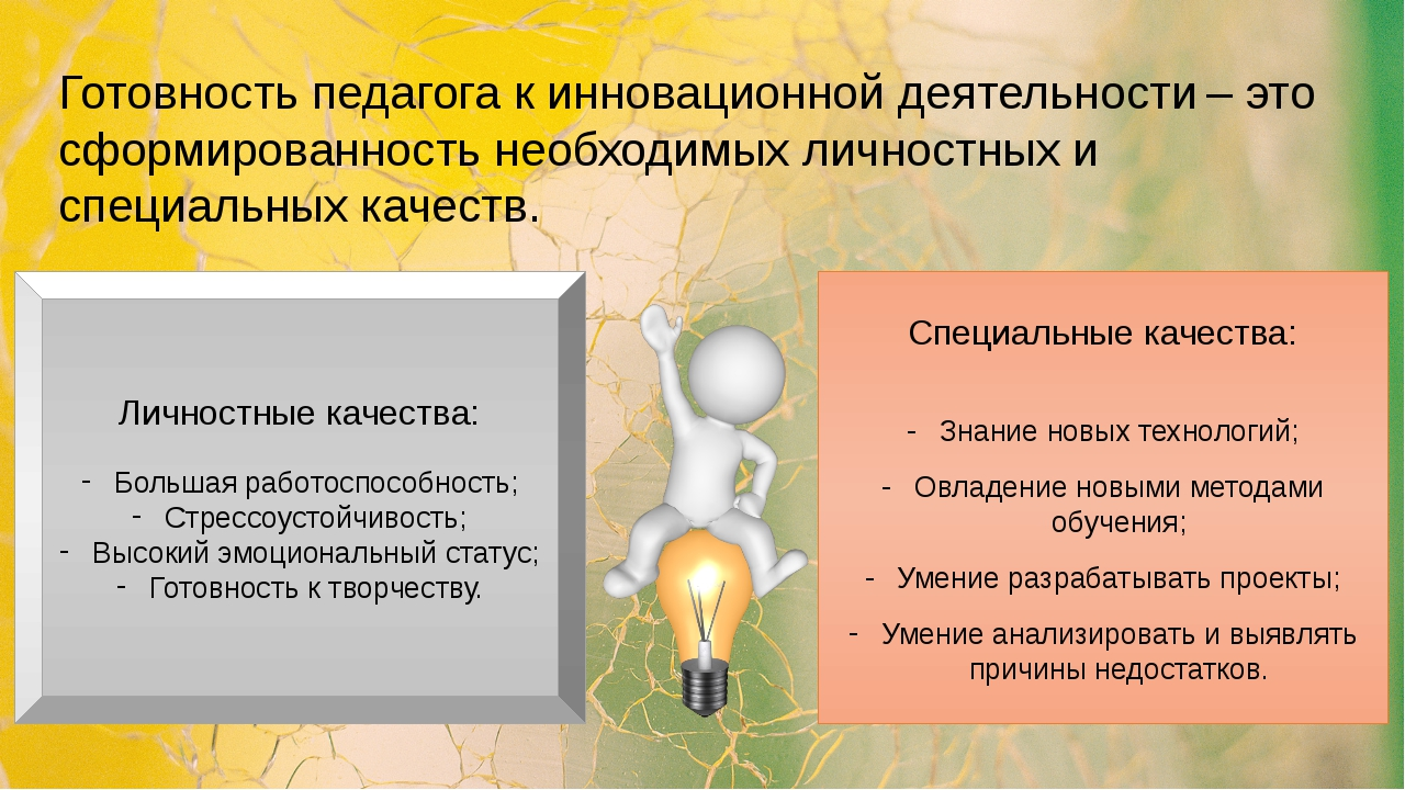 Готовность педагога к инновационной деятельности – это сформированность необх...