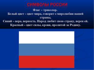Флаг – триколор. Белый цвет – цвет мира, говорит о миролюбии нашей страны, С