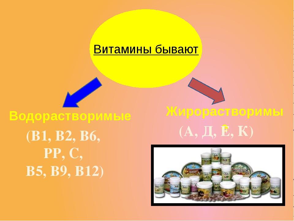 Жирорастворимые Водорастворимые (В1, В2, В6, РР, С, В5, В9, В12) (А, Д, Е, К...