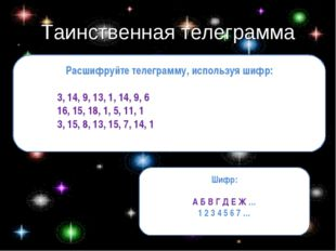 Таинственная телеграмма Расшифруйте телеграмму, используя шифр: 3, 14, 9, 13,