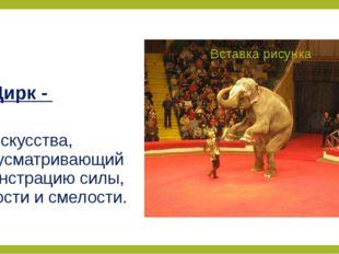 Цирк - вид искусства, предусматривающий демонстрацию силы, ловкости и смелости.