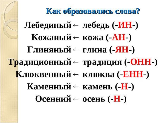 Как образовались слова? Лебединый← Кожаный← Глиняный← Традиционный← Клюквенны...