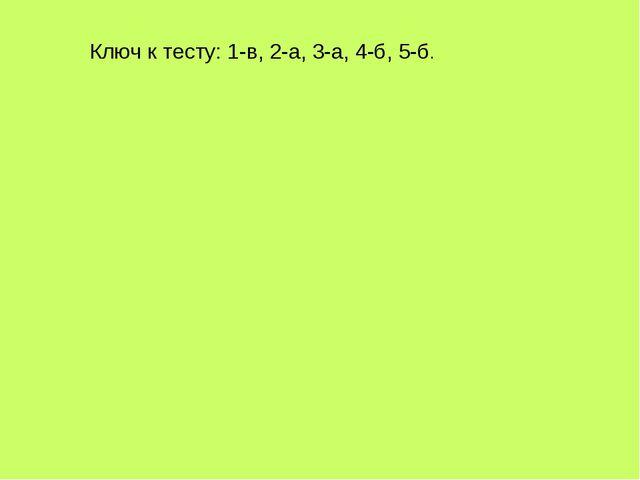Ключ к тесту: 1-в, 2-а, 3-а, 4-б, 5-б.