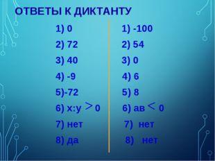 ОТВЕТЫ К ДИКТАНТУ 1) 0 1) -100 2) 72 2) 54 3) 40 3) 0 4) -9 4) 6 5)-72 5) 8 6