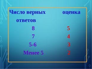 Число верных оценка ответов 8 5 7 4 5-6 3 Менее 5 2