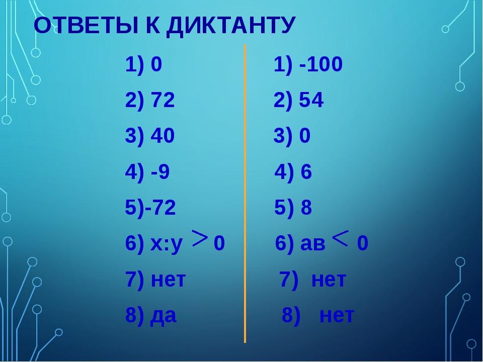 ОТВЕТЫ К ДИКТАНТУ 1) 0 1) -100 2) 72 2) 54 3) 40 3) 0 4) -9 4) 6 5)-72 5) 8 6...