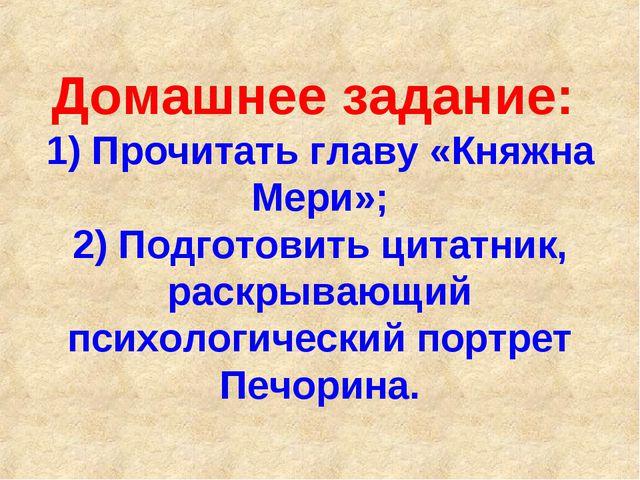 Домашнее задание: 1) Прочитать главу «Княжна Мери»; 2) Подготовить цитатник,...