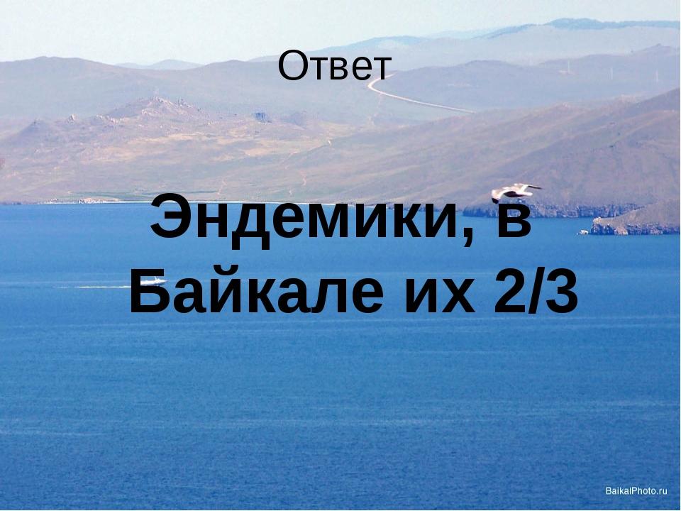Ответ  Эндемики, в Байкале их 2/3