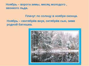 Ноябрь – ворота зимы, месяц молодого , звонкого льда. Плачут по солнцу в нояб