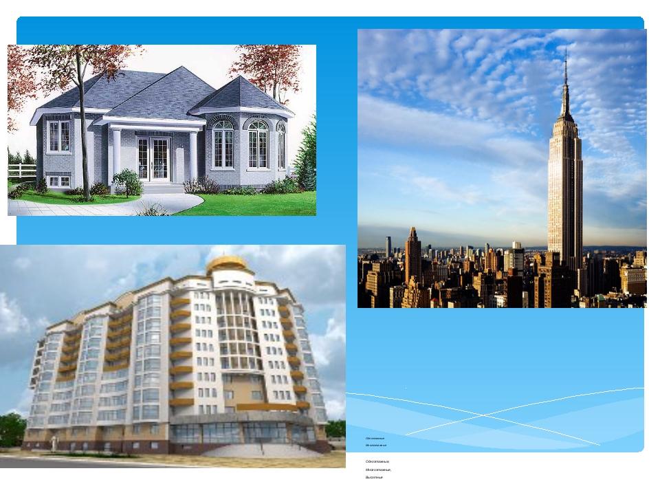 Одноэтажные Многоэтажные Одноэтажные, Многоэтажные, Высотные