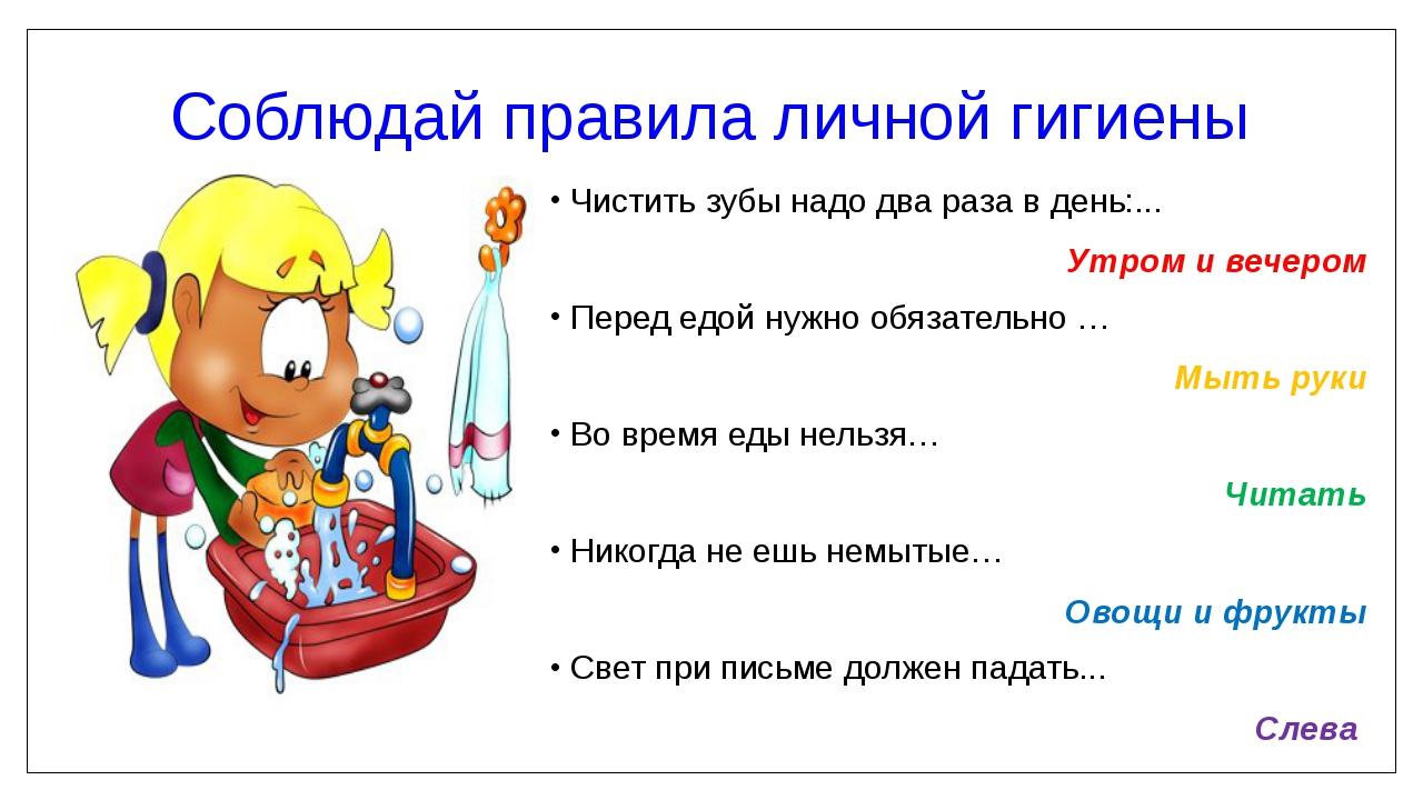 Соблюдай правила личной гигиены Чистить зубы надо два раза в день:... Утром и...