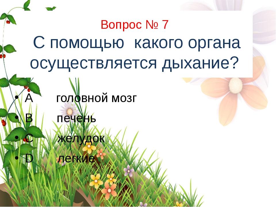Вопрос № 7 С помощью какого органа осуществляется дыхание? A головной мозг B...