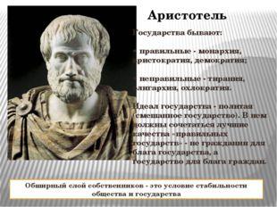 Аристотель Государства бывают: • правильные - монархия, аристократия, демокра
