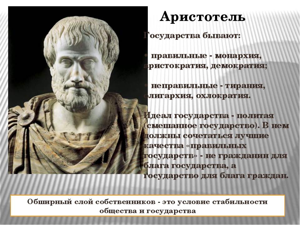 Аристотель Государства бывают: • правильные - монархия, аристократия, демокра...