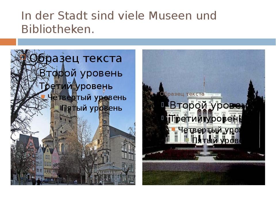In der Stadt sind viele Museen und Bibliotheken.