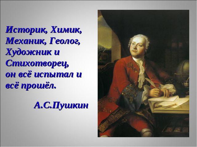 Историк, Химик, Механик, Геолог, Художник и Стихотворец, он всё испытал и всё...