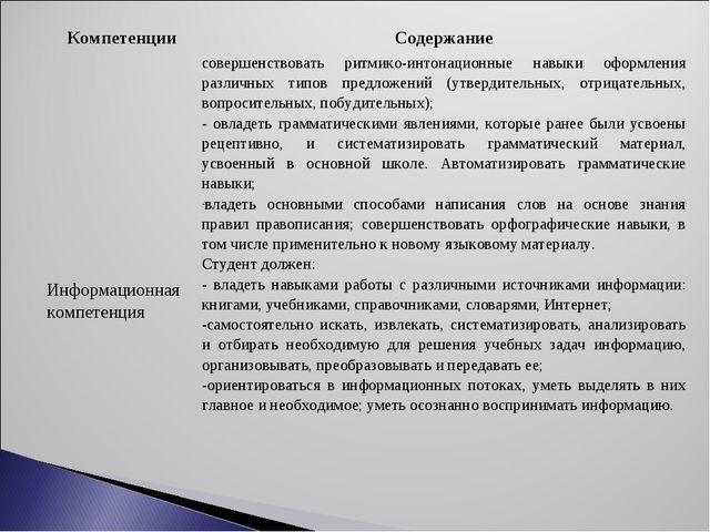КомпетенцииСодержание Информационная компетенциясовершенствовать ритмико-ин...