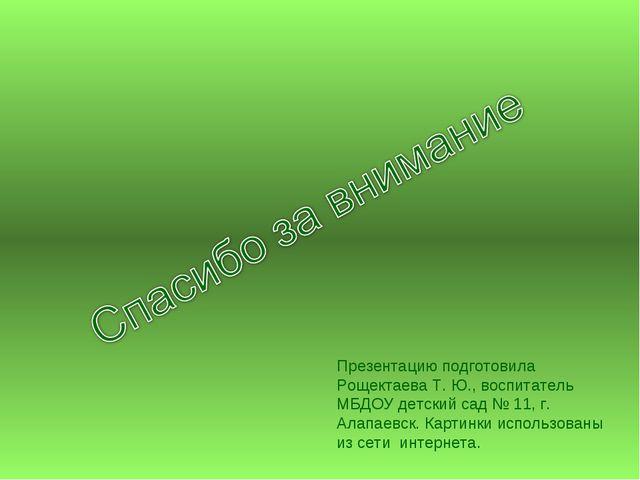 Презентацию подготовила Рощектаева Т. Ю., воспитатель МБДОУ детский сад № 11,...