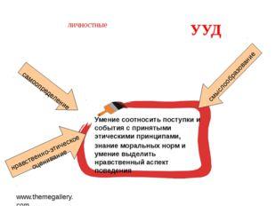 www.themegallery.com личностные УУД Умение соотносить поступки и события с пр
