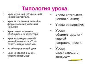 Типология урока Урок изучения (объяснения) нового материала Урок закрепления