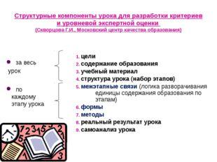 цели содержание образования учебный материал структура урока (набор этапов)