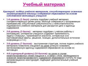 Учебный материал Критерий: подбор учебного материала, способствующего освоен