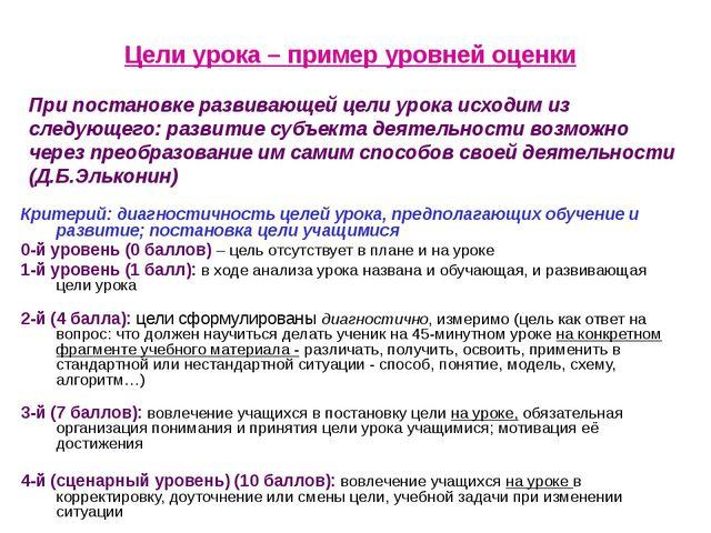 Г.И.Скворцова, к.п.н., МЦКО Цели урока – пример уровней оценки Критерий: диа...