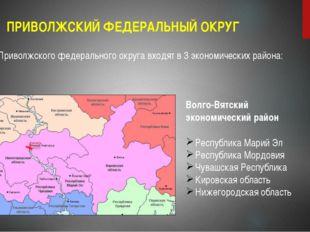ПРИВОЛЖСКИЙ ФЕДЕРАЛЬНЫЙ ОКРУГ Регионы Приволжского федерального округа входят