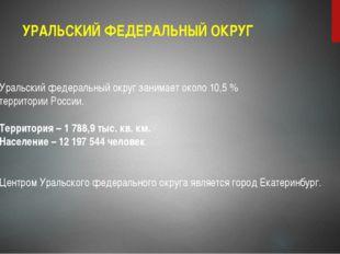 УРАЛЬСКИЙ ФЕДЕРАЛЬНЫЙ ОКРУГ Уральский федеральный округ занимает около 10,5 %