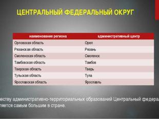 ЦЕНТРАЛЬНЫЙ ФЕДЕРАЛЬНЫЙ ОКРУГ По количеству административно-территориальных о
