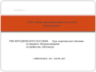 Тема: Виды крупноразмерных сухой штукатурки. Министерство образования и науки