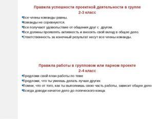 Правила успешности проектной деятельности в группе 2-3 класс Все члены команд