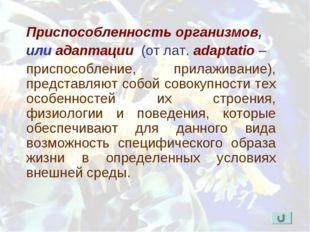 Приспособленность организмов, или адаптации (от лат. adaptatio – приспособлен