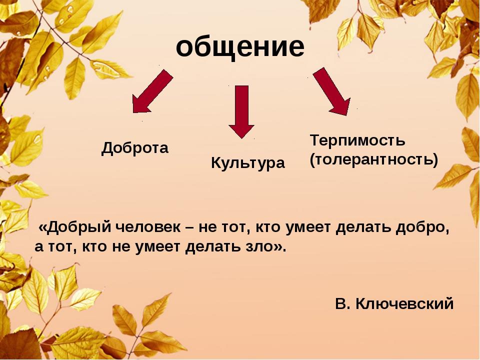 общение Доброта Терпимость (толерантность) Культура «Добрый человек – не тот,...