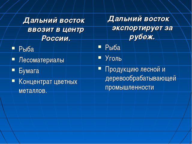 Дальний восток ввозит в центр России. Рыба Лесоматериалы Бумага Концентрат ц...