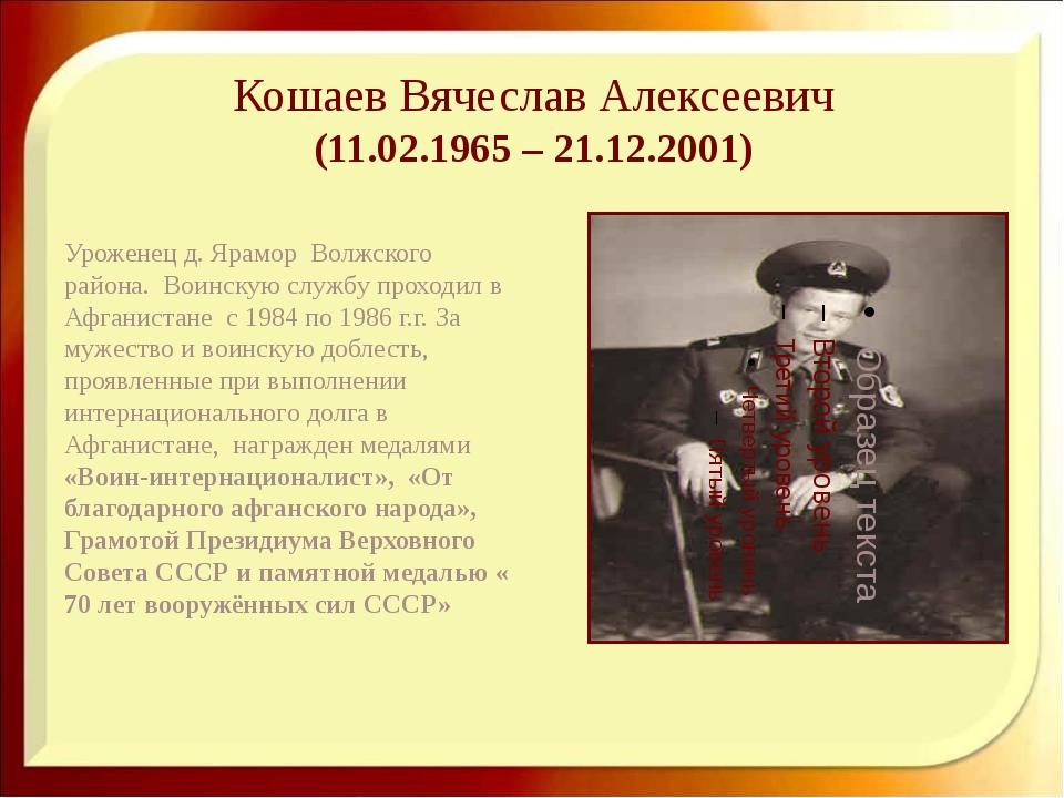 Кошаев Вячеслав Алексеевич (11.02.1965 – 21.12.2001) Уроженец д. Ярамор Волж...