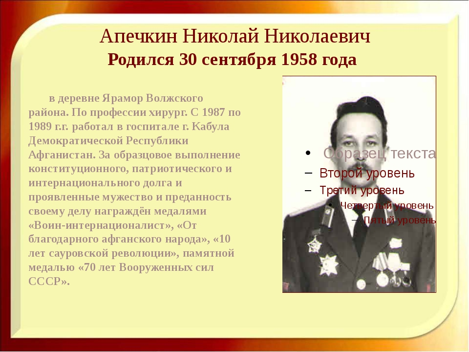 Апечкин Николай Николаевич Родился 30 сентября 1958 года в деревне Ярамор Во...