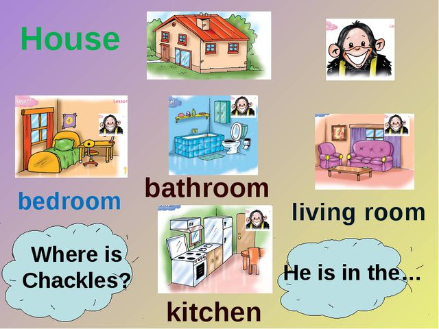 bedroom bathroom kitchen living room House Where is Chackles? He is in the…
