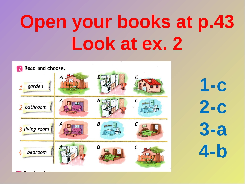 Open your books at p.43 Look at ex. 2 1-c 2-c 3-a 4-b