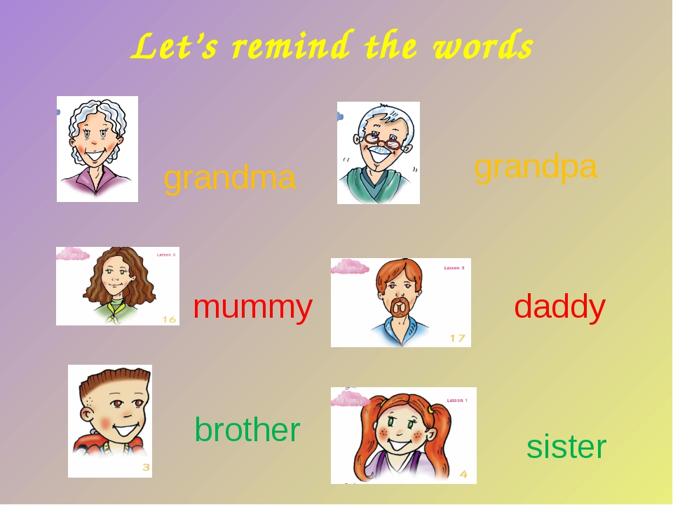 Let's remind the words mummy daddy brother sister grandma grandpa