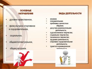 ОСНОВНЫЕ НАПРАВЛЕНИЯ духовно-нравственное, физкультурно-спортивное и оздорови