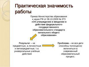 Практическая значимость работы Приказ Министерства образования и науки РФ от
