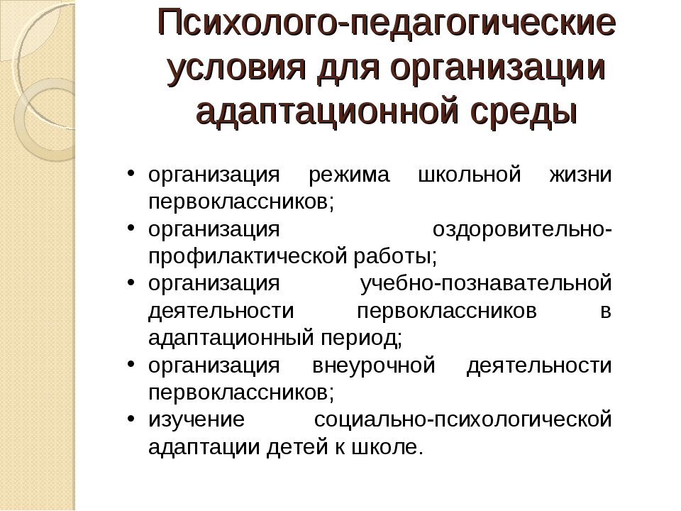 Психолого-педагогические условия для организации адаптационной среды организа...