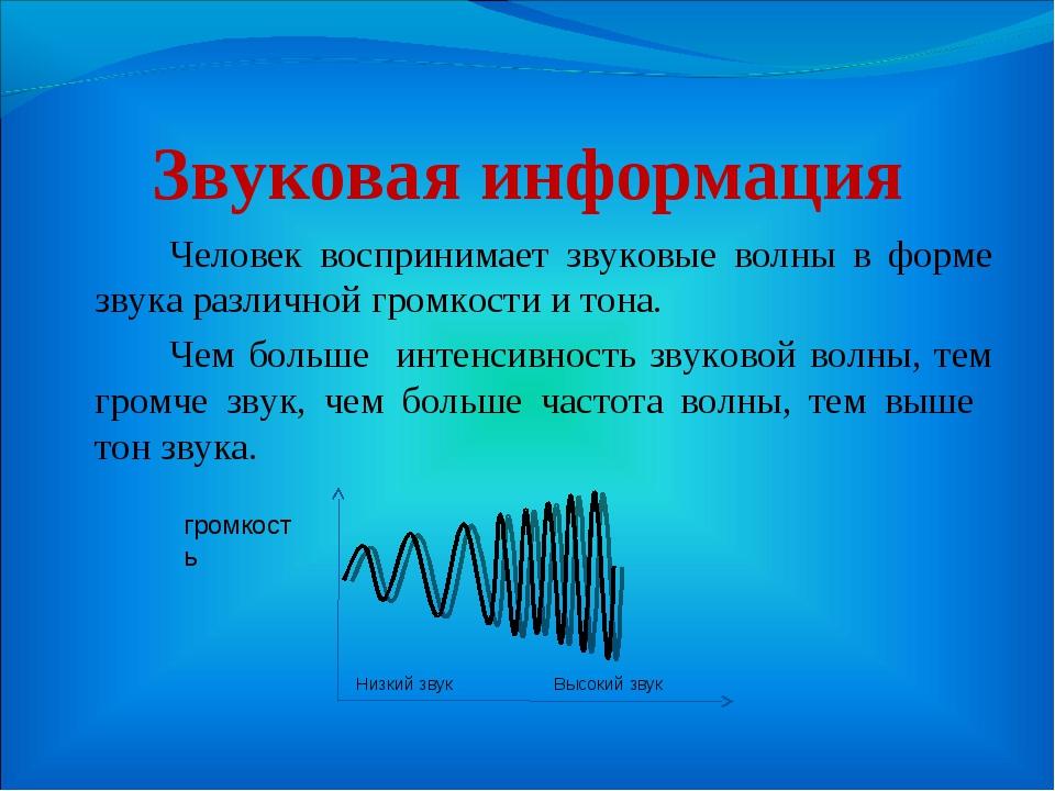 Звуковая информация Человек воспринимает звуковые волны в форме звука разли...