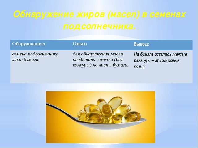 Обнаружение жиров (масел) в семенах подсолнечника. Оборудование: Опыт: Вывод:...