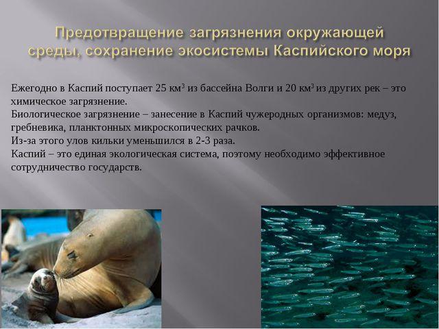 Ежегодно в Каспий поступает 25 км3 из бассейна Волги и 20 км3 из других рек –...