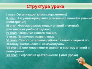 I этап. Организация класса (орг.момент) II этап. Актуализация ранее усвоенных
