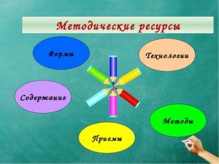 Методические ресурсы Формы Технологии Содержание Методы Приемы Методические р