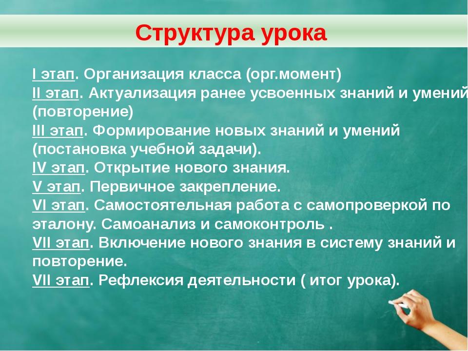 I этап. Организация класса (орг.момент) II этап. Актуализация ранее усвоенных...