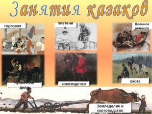 охота коневодство Кузнечное дело торговля Военное ремесло плетение Земледелие
